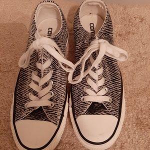 Grey black tweed all star sneakers